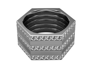 Multi Diamond Men's Ring in 18ct. White Gold-69-05031