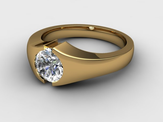 Men S Single Stone Diamond Ring In 18ct Yellow Gold 69 18035