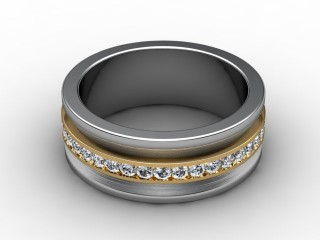 Multi Diamond Men's Ring in 18ct. Yellow and White Gold-69-28021