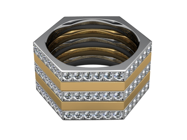 Multi Diamond Men's Ring in 18ct. Yellow and White Gold