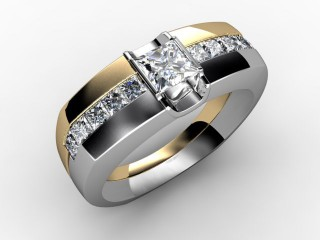 Single Stone Diamond Men's Ring in 18ct. Yellow and White Gold