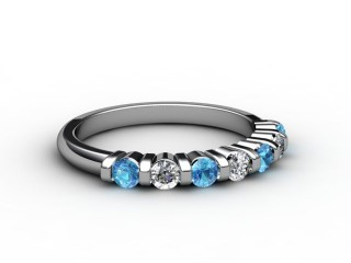 Blue Topaz and Diamond 0.42cts. in Platinum