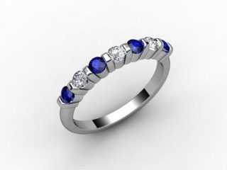 Blue Sapphire and Diamond 0.88cts. in Platinum