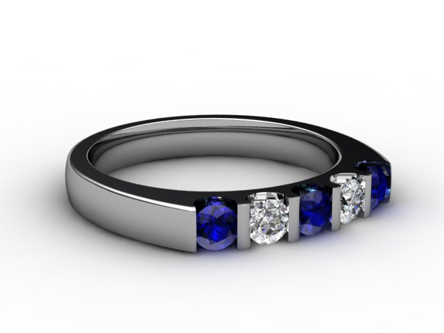 Blue Sapphire and Diamond 0.68cts. in Platinum