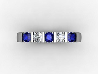 Blue Sapphire and Diamond 0.68cts. in Platinum - 9