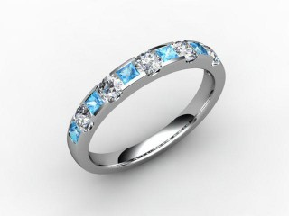 Blue Topaz and Diamond 0.78cts. in Platinum
