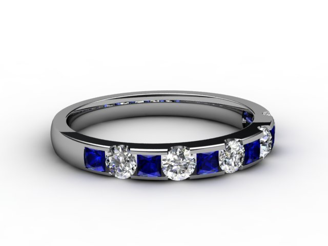 Blue Sapphire and Diamond 0.84cts. in Platinum