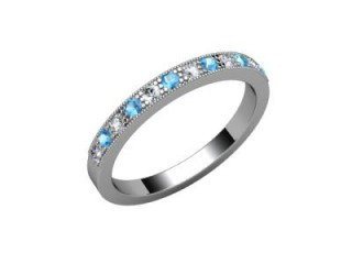 Blue Topaz and Diamond 0.24cts. in Platinum