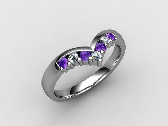 Amethyst and Diamond 0.21cts. in 18ct. White Gold