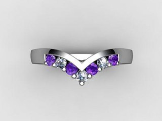 Amethyst and Diamond 0.21cts. in 18ct. White Gold - 9