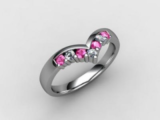 Pink Sapphire and Diamond 0.26cts. in 18ct. White Gold