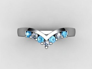 Blue Topaz and Diamond 0.24cts. in 18ct. White Gold