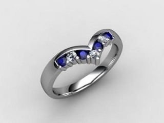 Blue Sapphire and Diamond 0.26cts. in 18ct. White Gold