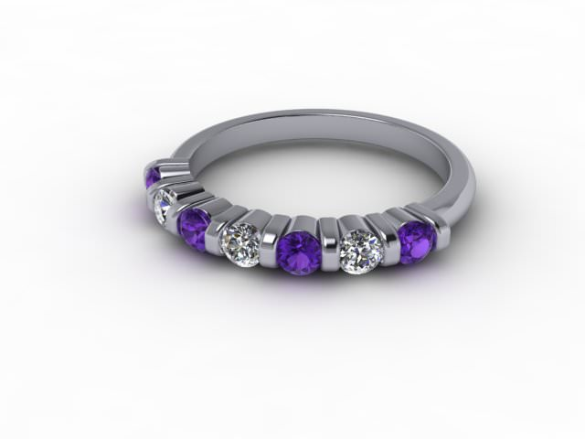Amethyst and Diamond 0.70cts. in 18ct. White Gold