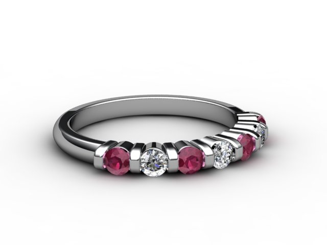 Ruby and Diamond 0.88cts. in 18ct. White Gold