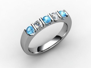 Blue Topaz and Diamond 0.63cts. in 18ct. White Gold