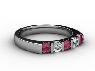 Ruby and Diamond 0.68cts. in 18ct. White Gold