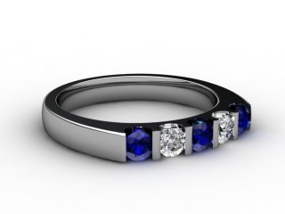 Blue Sapphire and Diamond 0.68cts. in 18ct. White Gold-88-05056-147