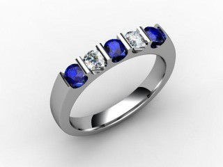Blue Sapphire and Diamond 0.68cts. in 18ct. White Gold