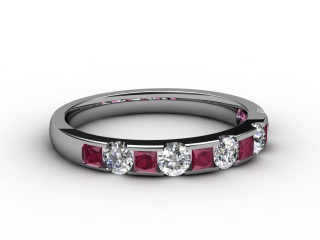 Ruby and Diamond 0.84cts. in 18ct. White Gold