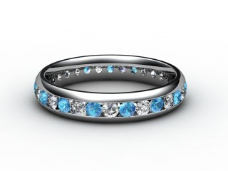 Blue Topaz and Diamond 0.86cts. in 18ct. White Gold-88-05099-113
