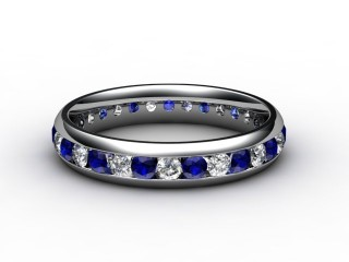 Blue Sapphire and Diamond 0.92cts. in 18ct. White Gold-88-05099-147