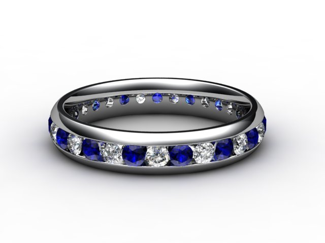 Blue Sapphire and Diamond 0.92cts. in 18ct. White Gold