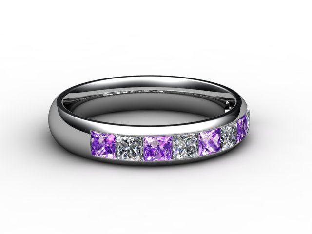 Amethyst and Diamond 1.12cts. in 18ct. White Gold