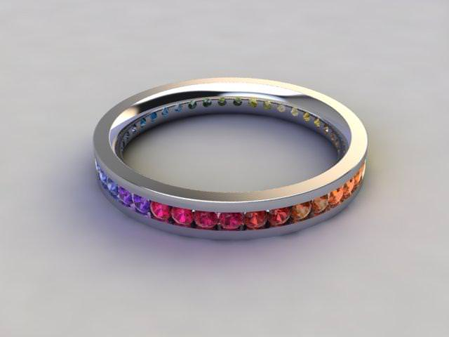 Rainbow Sapphires 1.00cts. in 18ct. White Gold