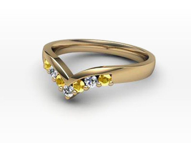 Yellow Sapphire and Diamond 0.26cts. in 18ct. Yellow Gold
