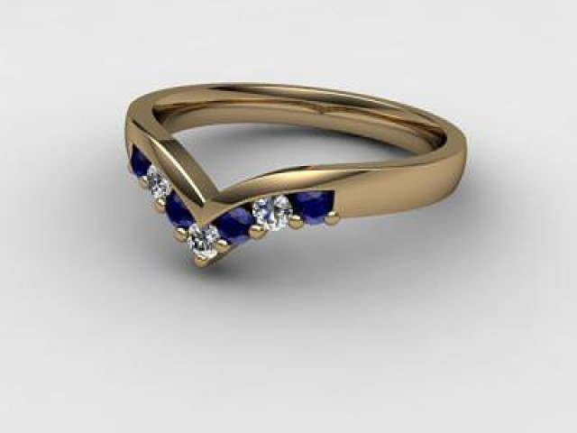 Blue Sapphire and Diamond 0.26cts. in 9ct. Yellow Gold