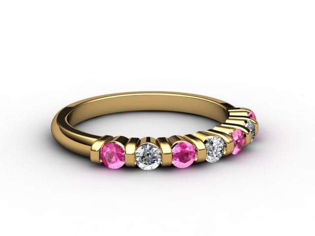 Pink Sapphire and Diamond 0.88cts. in 18ct. Yellow Gold