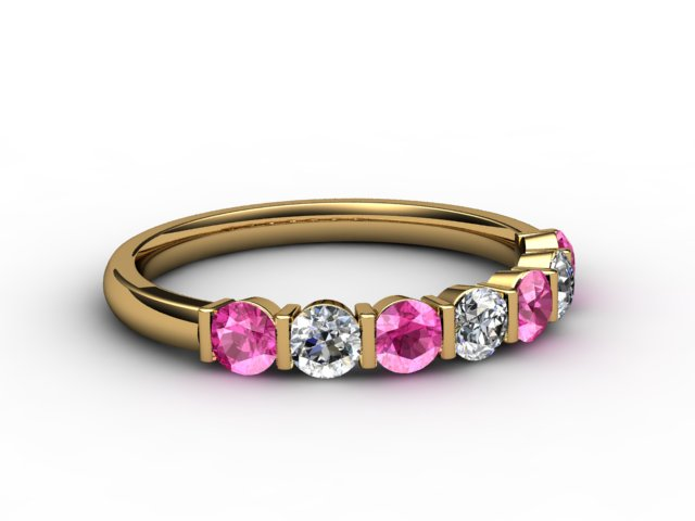 Pink Sapphire and Diamond 0.75cts. in 18ct. Yellow Gold