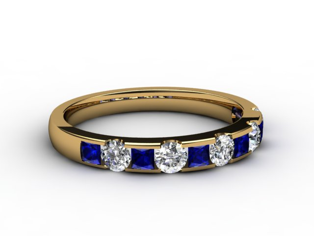 Blue Sapphire and Diamond 0.84cts. in 18ct. Yellow Gold