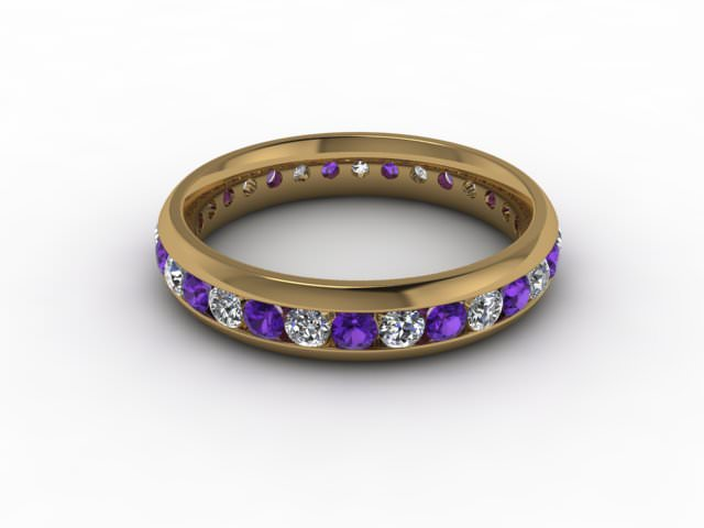 Amethyst and Diamond 0.75cts. in 9ct. Yellow Gold