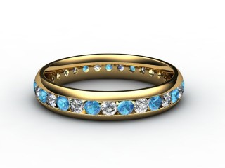 Blue Topaz and Diamond 0.86cts. in 18ct. Yellow Gold-88-18099-113