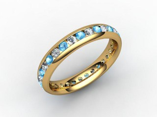 Blue Topaz and Diamond 0.86cts. in 18ct. Yellow Gold