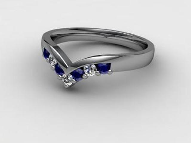 Blue Sapphire and Diamond 0.26cts. in Palladium