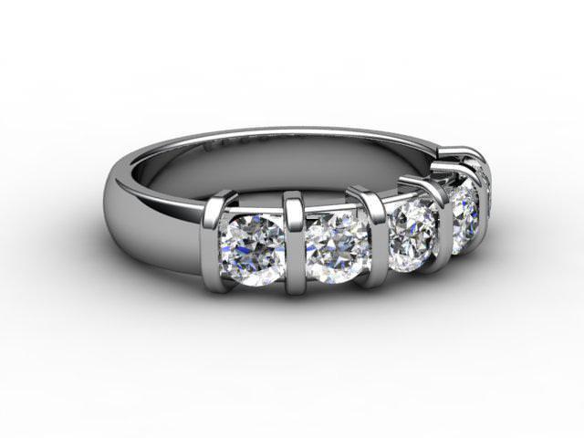 Half-Set Diamond Eternity Ring 0.75cts. in Palladium