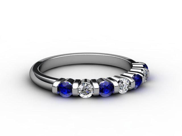 Blue Sapphire and Diamond 0.88cts. in Palladium