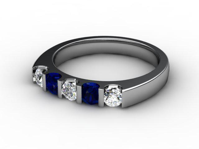 Blue Topaz and Diamond 0.63cts. in Palladium