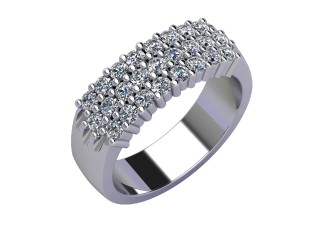 Half-Set Diamond Eternity Ring 0.75cts. in Palladium
