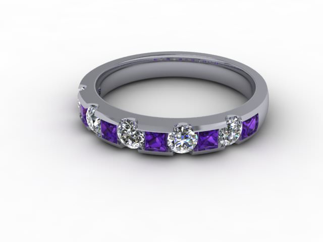 Amethyst and Diamond 0.68cts. in Palladium