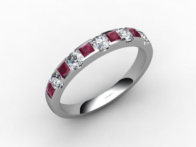 Ruby and Diamond 0.84cts. in Palladium