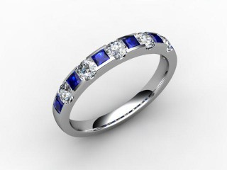 Blue Sapphire and Diamond 0.84cts. in Palladium