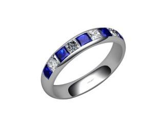 Blue Sapphire and Diamond 1.40cts. in Palladium-88-66100-147