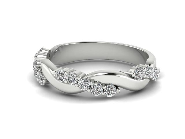 Half-Set Diamond Eternity Ring 0.33cts. in Palladium