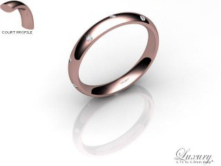 Men's Diamond Scatter 9ct. Rose Gold 3mm. Court Wedding Ring-9PG10D-3CHG