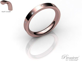 Men's Diamond Scatter 9ct. Rose Gold 3mm. Flat-Court Wedding Ring-9PG10D-3FCXG