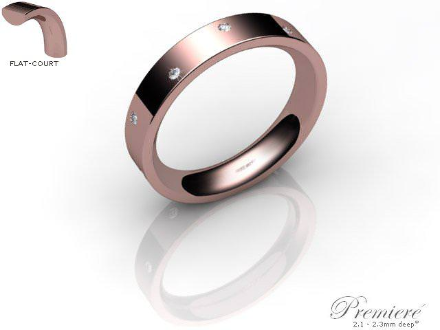 Men's Diamond Scatter 9ct. Rose Gold 4mm. Flat-Court Wedding Ring